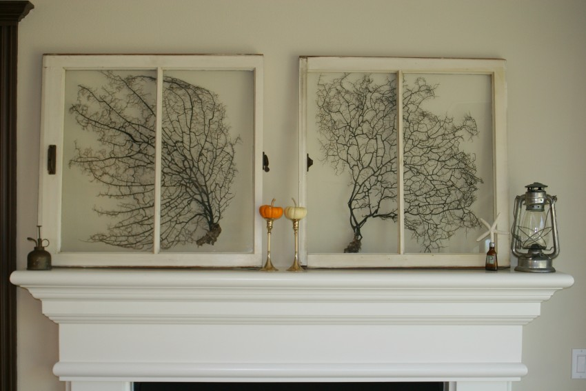 Beachy, simple, fall mantle :: sea fans, vintage windows, baby pumpkins