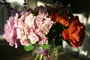 summer flowers :: hydrangea, roses and lavender