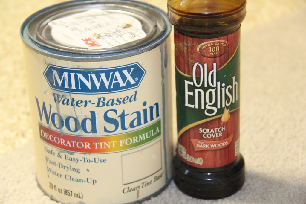MinWax water based gray stain and Old English dark stain