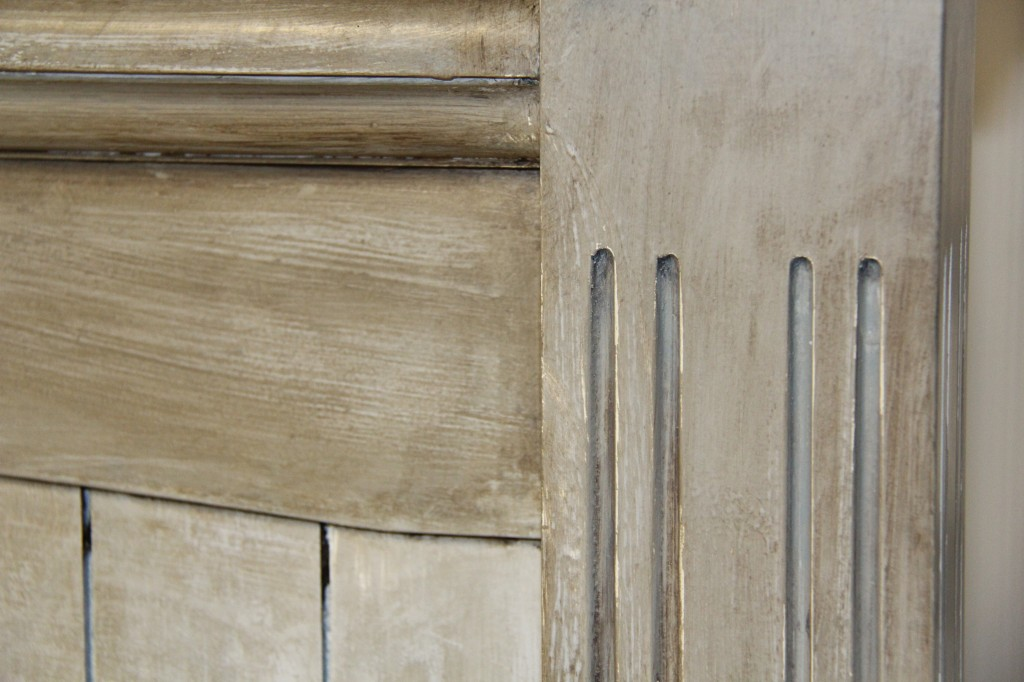 getting Restoration Hardware distressed wood finish close up headboard