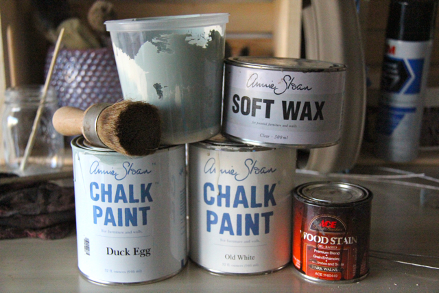 annie sloan chalk paint, brush, and ace dark wood wax
