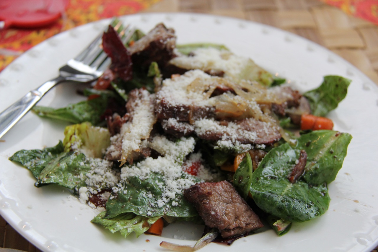 the yummy steak salad for some post-painting grub
