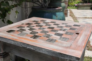chess table pre final Annie Sloan dark wax