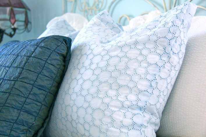 dyed chalk paint eyelet fabric for shabby chic room