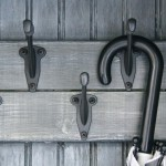 rustic mud room hooks close up