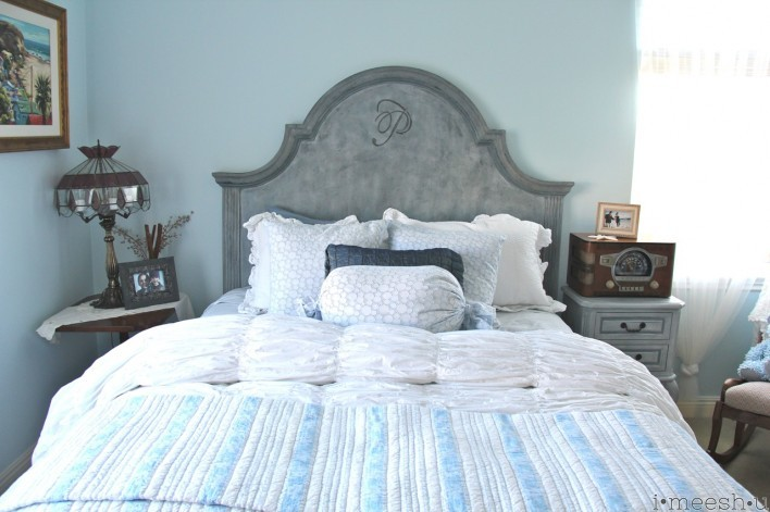 Gustavian inspired headboard in shabby chic room