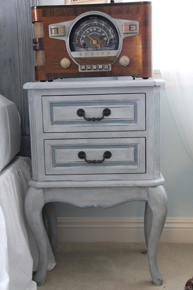 Gustavian inspired nighstand ASCP Paris Grey, Pure White, custom blue