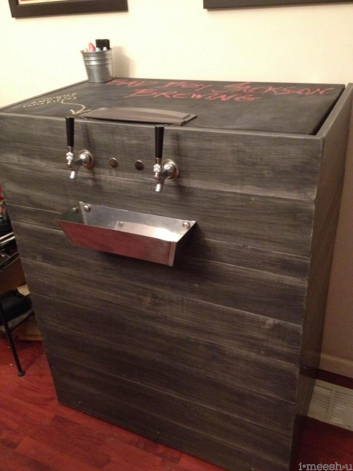 keg freezer with chalkboard top restoration hardware distressed finish