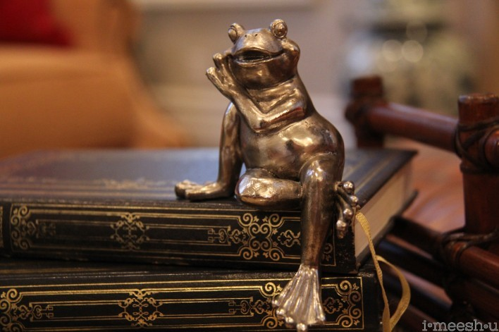 silver frog sitting on books traditional decor
