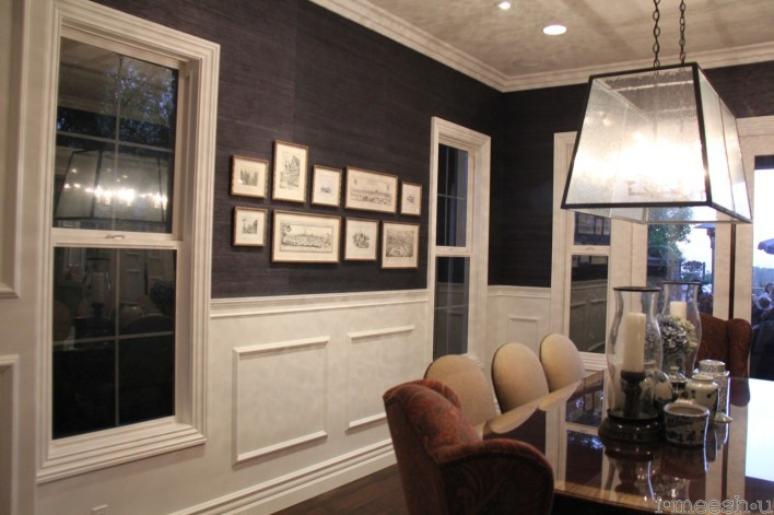 formal dining room dark blue grass cloth wallpaper, white wainscoting