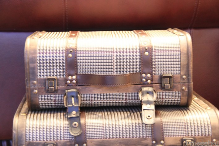 vintage industrial suitcases with metal straps