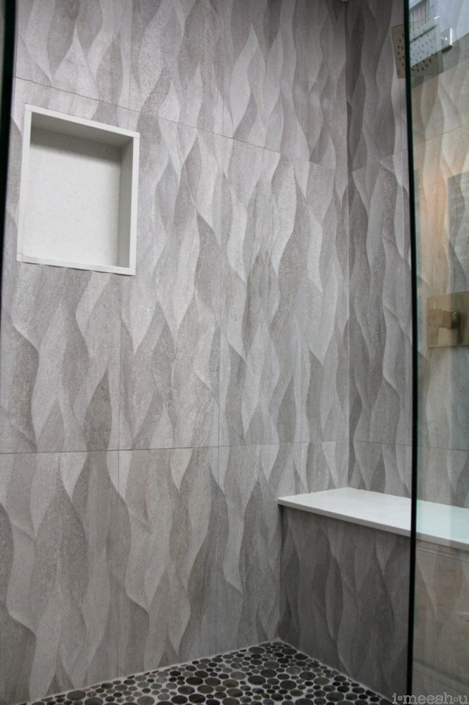 large plank gray wave tile shower walls misty carrara cesarstone seat and niche