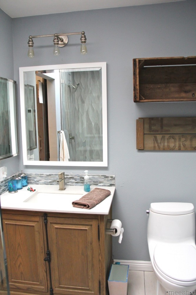 beachy boys bathroom misty carrara cesarstone restoration hardware vanity