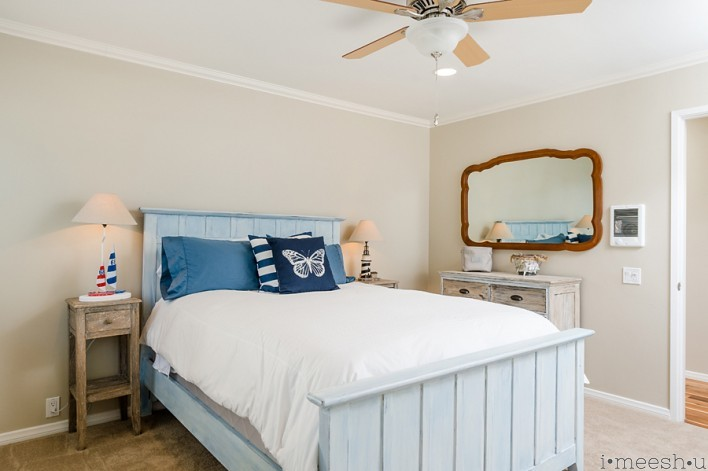 beach house bedroom with annie sloan painted furniture