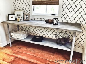oversized rustic wood and metal console table