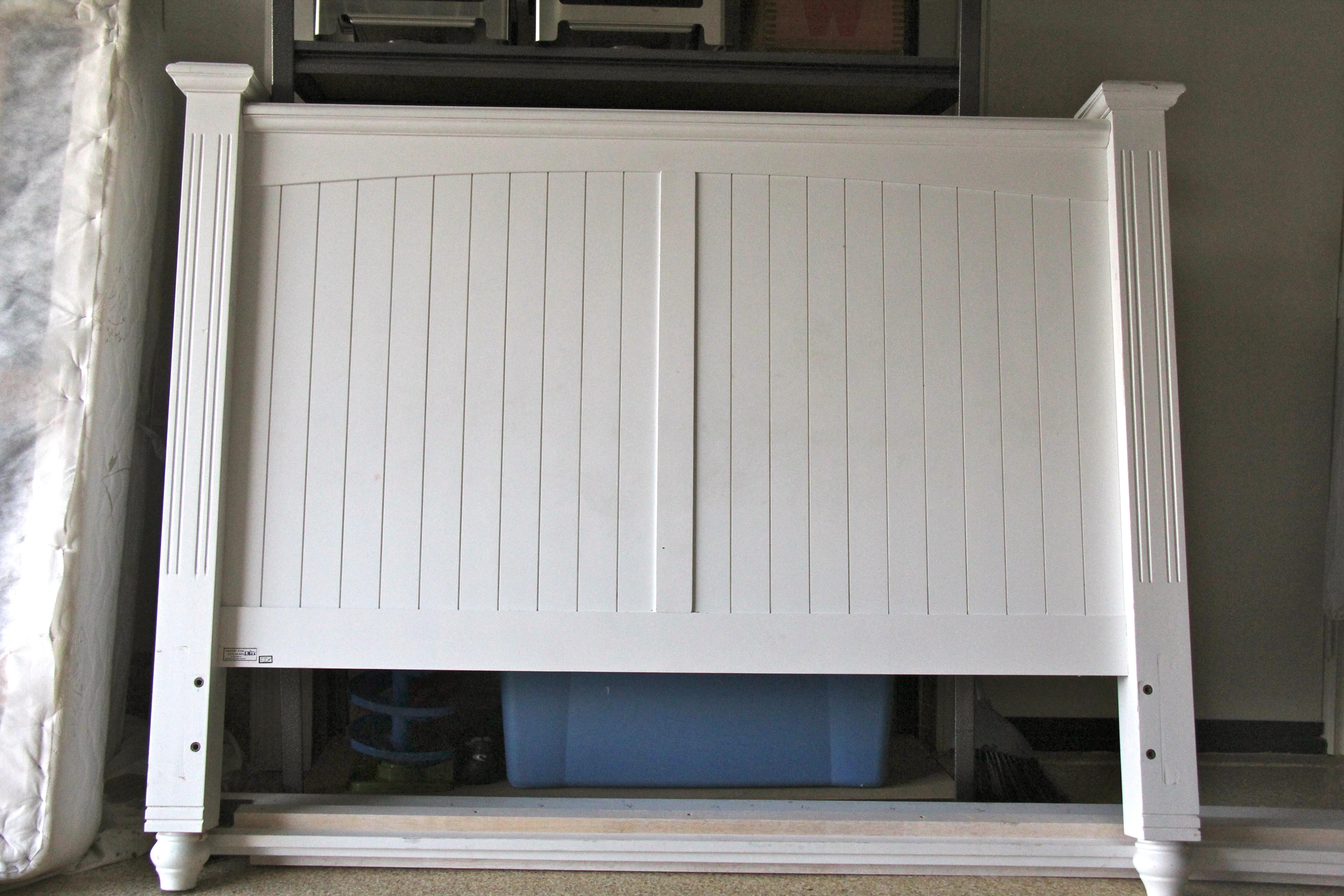glossy white wood headboard