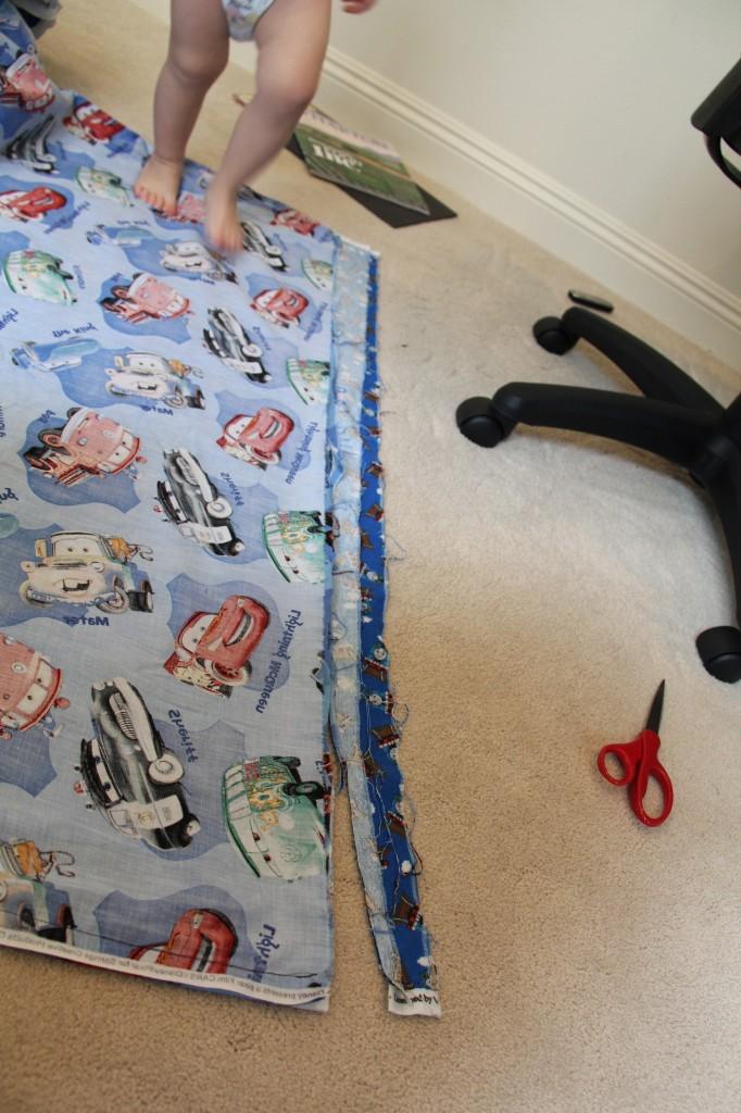 trimming fabric on duvet