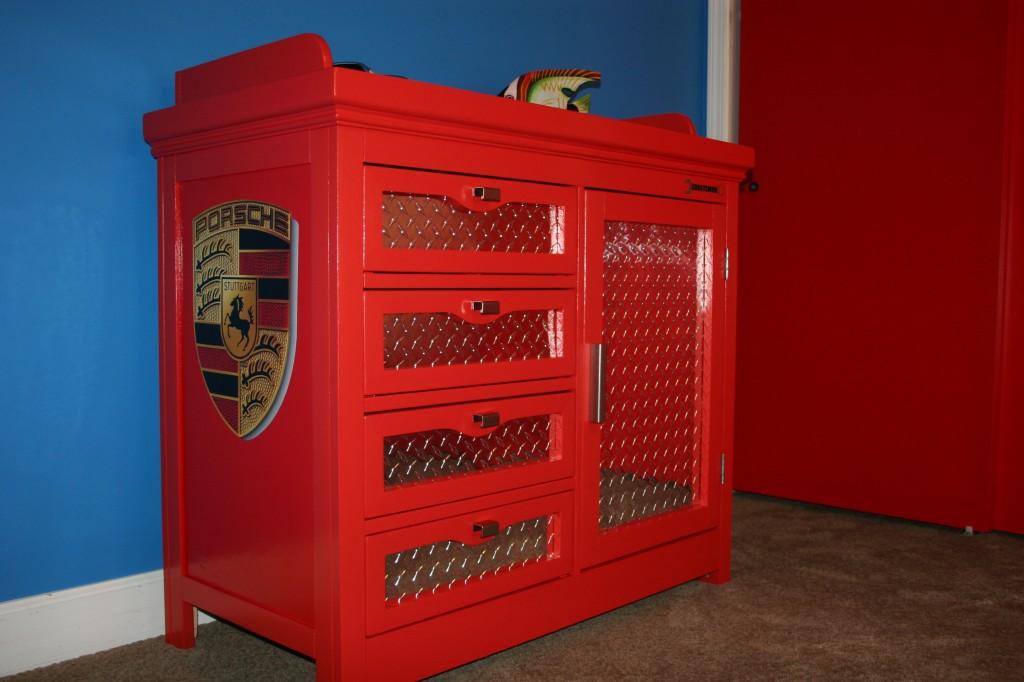 red tool kit race car dresser