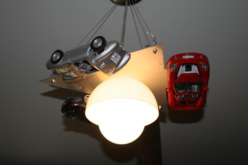 home made race car light for kid's room