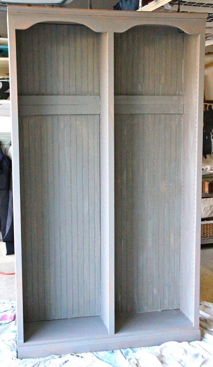 restoration hardware inspired entry locker repurposed with book shelf