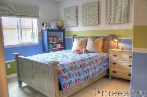 big boy room with lightning mcqueen duvet and restoration hardware knock off bed