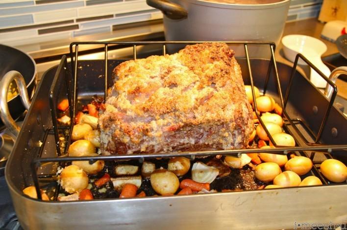 prime rib roast mid-way through cooking