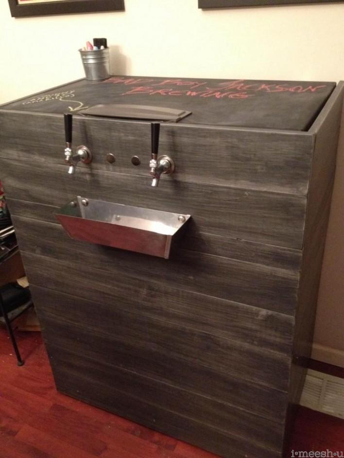 keg freezer with chalkboard top restoration hardware distressed finish