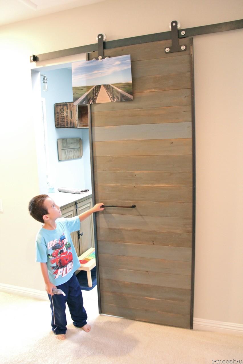 Barn Door On Bathroom With Horizontal Pull Oil Rubbed Bronze